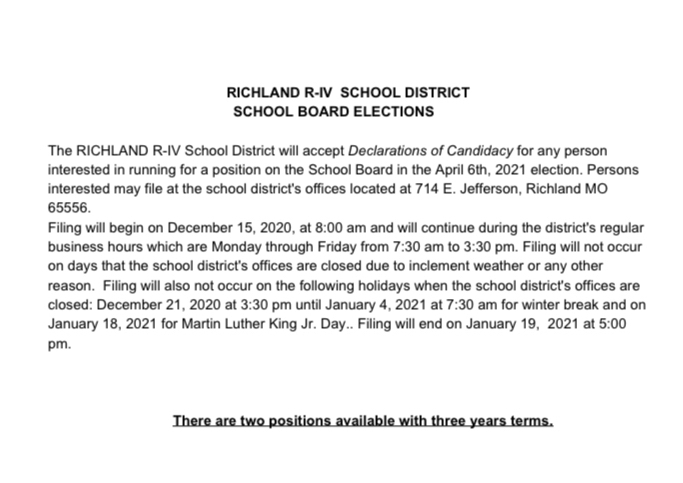Board of Education Filing Notice