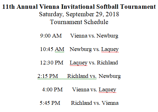 2018 Vienna Softball Tournament Game Times