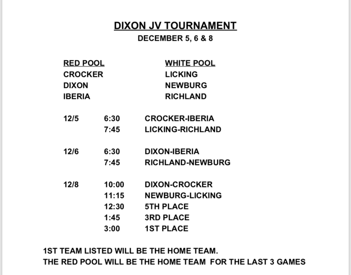Dixon JV Boys Tournament